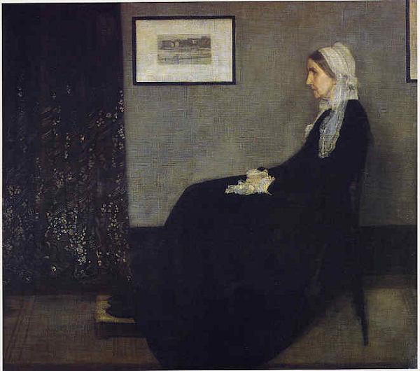 ホイッスラー 灰色と黒のアレンジメント:画家の母の肖像 プリキャンバス複製画 人気の製品 6号サイズ ギャラリーラップ仕上げ アイテム勢ぞろい