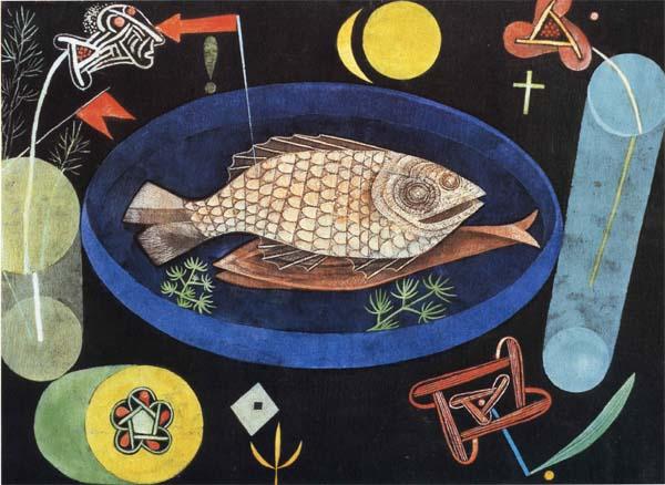 クレー 低廉 魚をめぐって [並行輸入品] プリキャンバス複製画 ギャラリーラップ仕上げ 6号サイズ