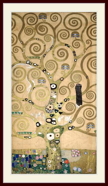 SALE開催中 クリムト 人生の木 部分 Part of the 往復送料無料 tree プリキャンバス複製画 デッサン額仕上げ 6号相当サイズ life