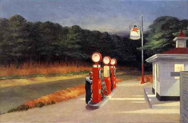 ホッパー ガソリン スタンド 6号サイズ 最安値 ギャラリーラップ仕上げ 在庫限り プリキャンバス複製画