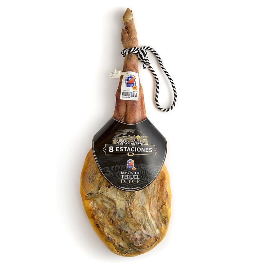 スペイン産ハモン、ディ、テルエル DO 骨付 18ケ月 約9Kg(冷蔵)/生ハム原木/スペイン/1本あたりおよそ37800円ですが目方売り商品ですのでお支払い価格が変わります。