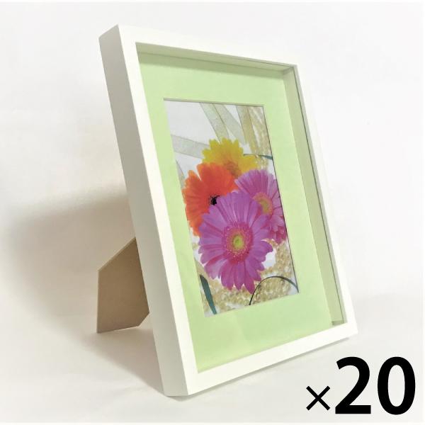 ボックス フレーム 卓上 写真立て アートフレーム 2L サイズ 20枚 BOXフレーム 木製 2L判 白 インテリア メーカー在庫限り品 安全 プリザーブドフラワー ボックスフレーム 立体 ディスプレイ フラワーアレンジ 壁掛け グリーン フォトフレーム 写真額 刺繍 収納