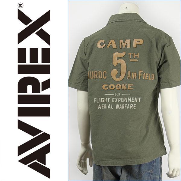 レザーパッチが特徴的なミリタリースタイルのシャツ 送料無料 Avirex アビレックス 半袖 レザーパッチシャツ AVIREX 2020 新作 SHIRT smtb-tk 高級な PATCH S 6125000-75 LEATHER
