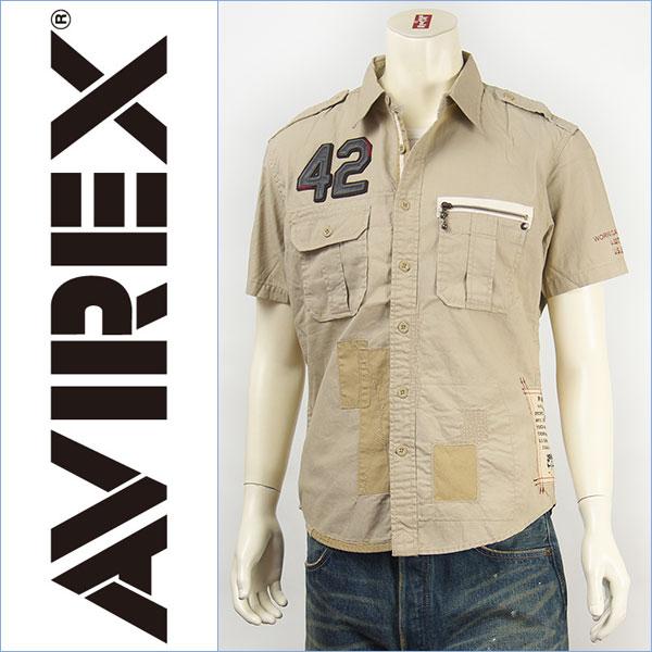 【送料無料】Avirex アビレックス レザーパッチ リペアーシャツ AVIREX S/S LEATHER PATCHED REPAIR SHIRT 6135023-06 半袖【smtb-tk】