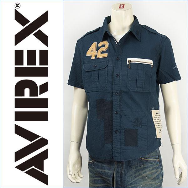 【送料無料】Avirex アビレックス レザーパッチ リペアーシャツ AVIREX S/S LEATHER PATCHED REPAIR SHIRT 6135023-87 半袖【smtb-tk】