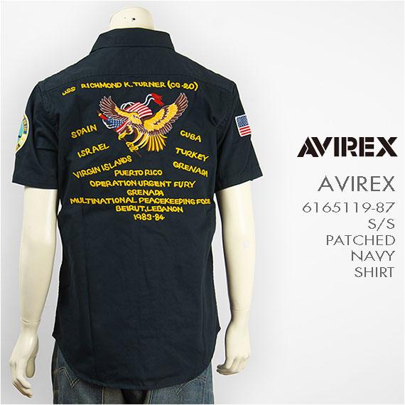 【送料無料】Avirex アビレックス 半袖 刺繍&パッチ ミリタリーシャツ ネイビー AVIREX S/S EMBROIDERY & PATCHED NAVY SHIRT 6165121-87【smtb-tk】