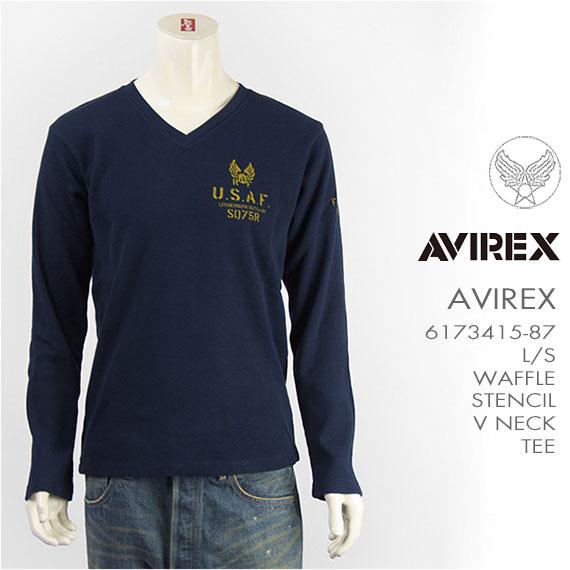 【国内正規品】AVIREX アビレックス ステンシルプリントTシャツ Vネック ワッフル L/S WAFFLE STENCIL V NECK TEE 6173415-87【長袖】