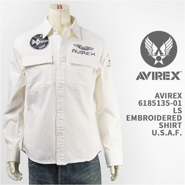 【国内正規品】Avirex アビレックス 長袖 刺繍シャツ U.S.A.F. AVIREX L/S EMBROIDERED SHIRT U.S.A.F. 6185135-01【MILITARY・送料無料】