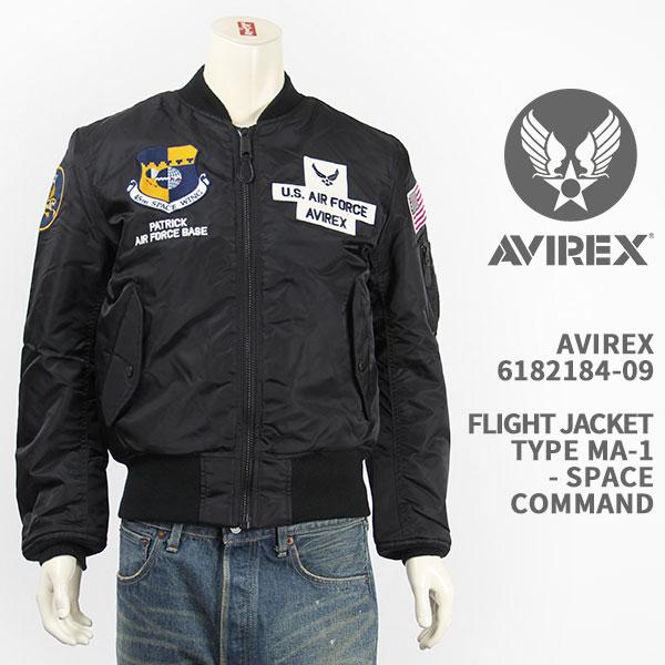 【国内正規品】AVIREX アビレックス スペースコマンド MA-1 ジャケット AVIREX MA-1 SPACE COMMAND 6182184-09【フライト・ミリタリー・ワッペン・刺繍・送料無料】