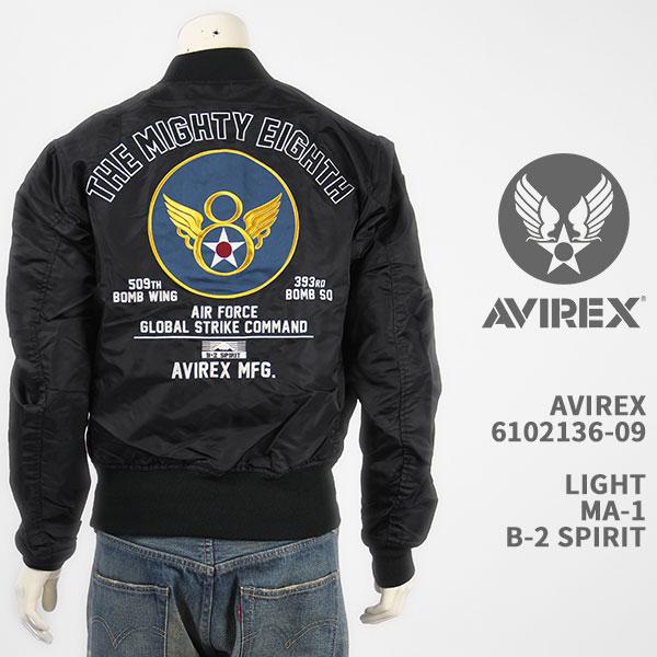 Avirex アビレックス ライト MA-1 ジャケット AVIREX LIGHT MA-1 B-2 SPIRIT 6102136-09【国内正規品/フライト/ミリタリー/ワッペン/刺繍/送料無料】