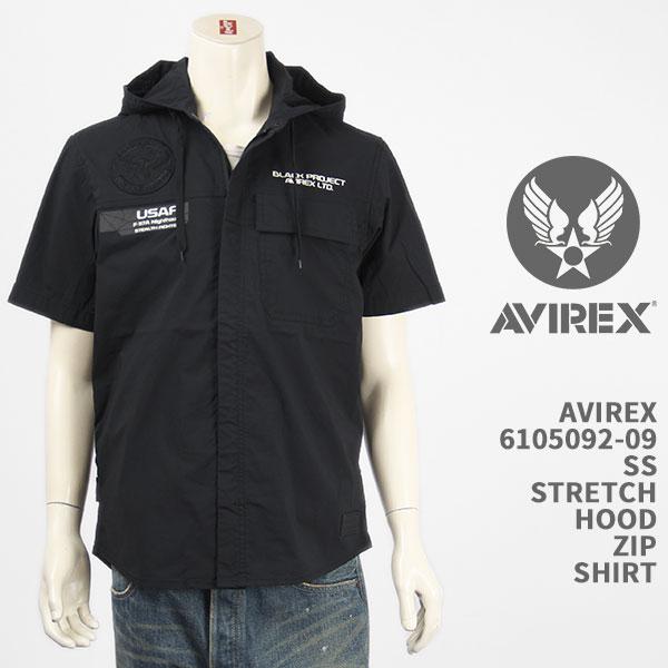 アヴィレックスらしい ミリタリーテイストのシャツパーカー Avirex アビレックス フード ジップ シャツ ストレッチ AVIREX 半袖 国内正規品 入荷予定 STRETCH ミリタリー SS SHIRT 6105092-09 ZIP HOOD 安売り