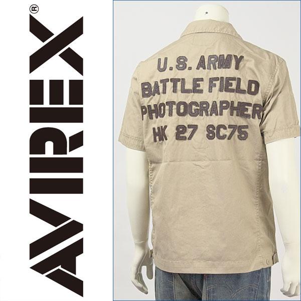 【送料無料】アビレックス 半袖・レザーパッチ・ジップシャツ ( AVIREX S/S LEATHER PATCH SHIRT 6105039-51 )【smtb-tk】