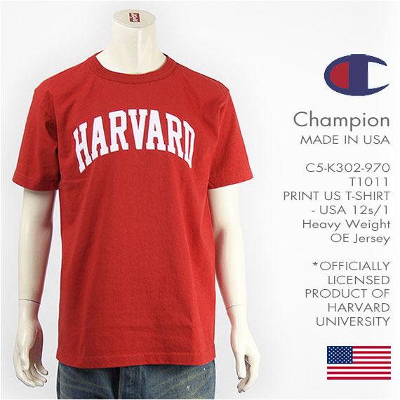 【米国製・国内正規品】Champion チャンピオン メイドインUSA T1011 半袖 プリント Tシャツ ハーバード大学 Champion MADE IN USA T1011 US T-SHIRT HARVARD UNIVERSITY C5-K302-970