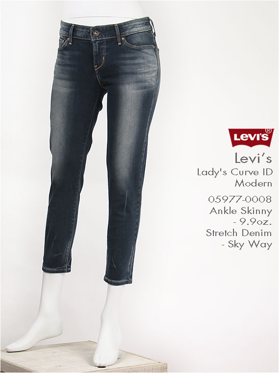 【送料無料】リーバイス レディース カーブアイディー モダン アンクルスキニー 10oz.ストレッチデニム スカイウェイ Levi's Lady's Curve ID Modern 05977-0008 クロップド・ジーンズ【smtb-tk】