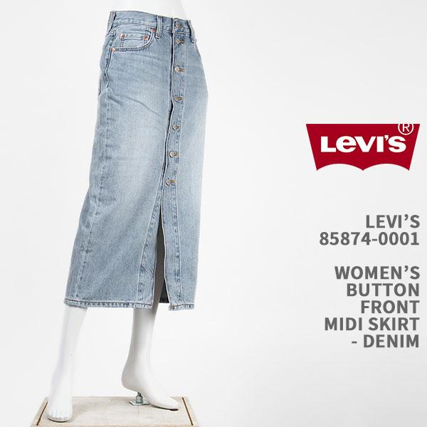 フロントボタンディテールがアクセントのデニムスカート 信用 Levi's 全国どこでも送料無料 リーバイス レディース ボタンフロント スカート ライトインディゴ LEVI'S WOMEN'S FRONT デニム ジーンズ SKIRT BUTTON 国内正規品 85874-0001 MIDI