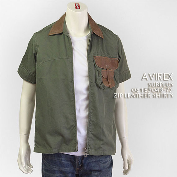 【送料無料】 アビレックス・ジップ・レザーシャツ ( AVIREX 6185048-75 )【smtb-tk】