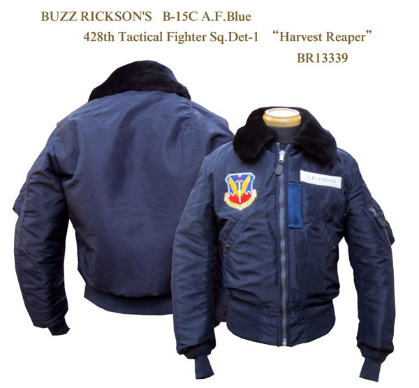 """BUZZ RICKSON'SバズリクソンズB-15C A.F.Blue428th Tactical Fighter Sq.Det-1""""Harvest Reaper"""" 2015年生産BR13339-15AWフライトジャケット ミリタリー メンズ 男性 新品「NC」"""