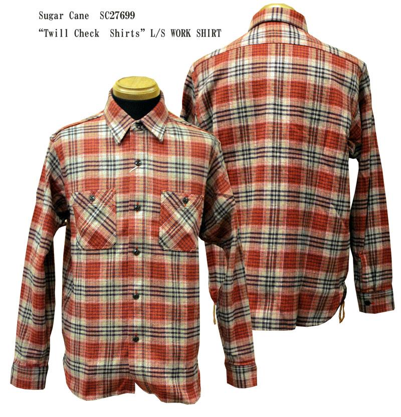 "Sugar Cane(シュガーケーン) ""Twill Check Shirts""L/S WORK SHIRT SC27699-17AWメンズ アメカジ 男性 長袖 シャツ 日本製 国産"