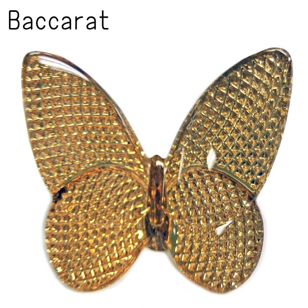 バカラ BACCARAT クリスタル フィギュア ラッキー バタフライ ゴールド LUCKY BUTTERFLIES チョウ #2812663 【送料無料】