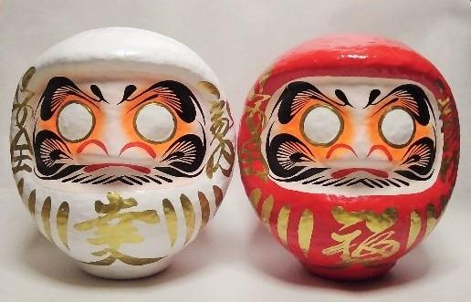 お祝いの贈り物におめでたい紅白の縁起物 日本の伝統工芸品 ☆国内最安値に挑戦☆ 幸福だるま 紅白だるま ペアセット 大 6号 19cm 幸だるま 日本産 福だるま 2個セット 白 高崎だるま 赤 達磨 ダルマ