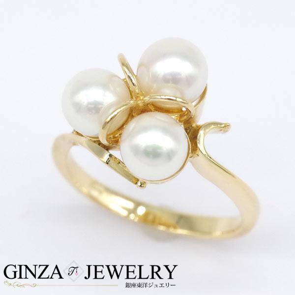 大特価品 K18YG イエローゴールド 真珠 パール デザイン リング 9号 【新品仕上済】【zz】【中古】【送料無料】
