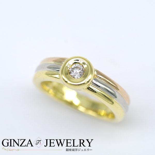 大特価品 K18YG PG Pt900 イエローゴールド ピンク プラチナ ダイヤモンド 0.12ct 一粒石 リング 6号 指輪【新品仕上済】【zz】【中古】【送料無料】