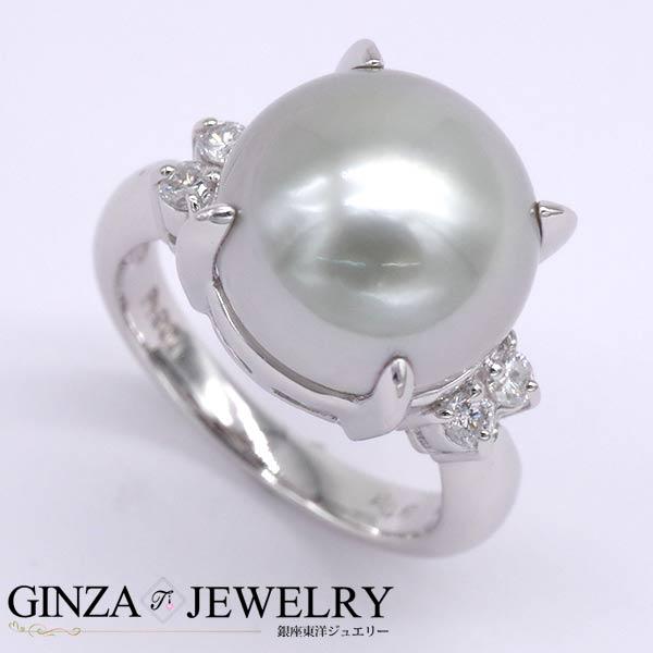 Pt900 プラチナ リング 真珠 パール ダイヤモンド 0.20ct シンプル デザイン 10号 指輪 【新品仕上済】 【zz】【中古ジュエリー】【人気】【中古】
