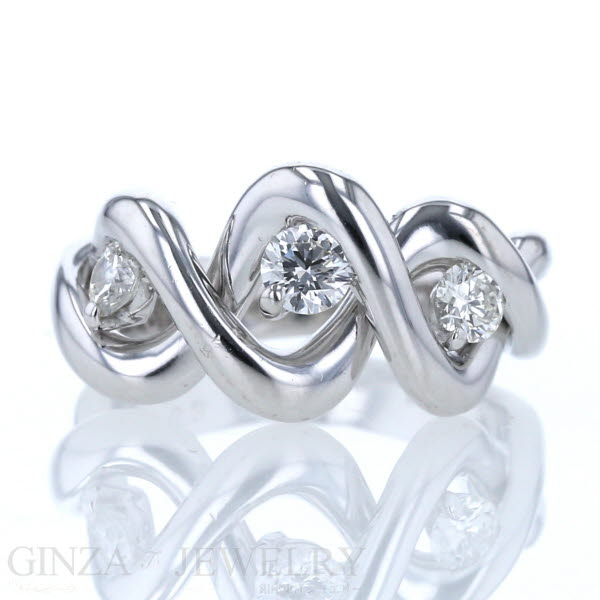 K18WG ホワイトゴールド リング ダイヤモンド 0.53ct ウェーブ ツイスト ひねり デザイン 12号 指輪【新品仕上済】【zz】【中古】【送料無料】