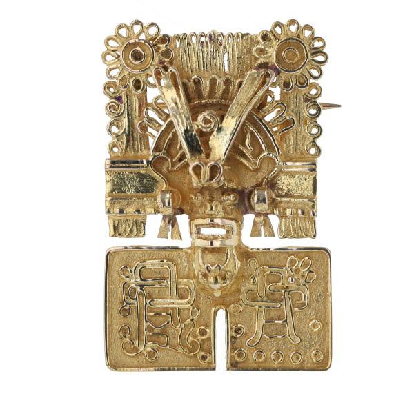 K14YG イエローゴールド ネックレストップ ブローチ エジプト インカ帝国 シカン 人物 花 フラワー ネイティブデザイン【新品仕上済】【af】【中古】【送料無料】
