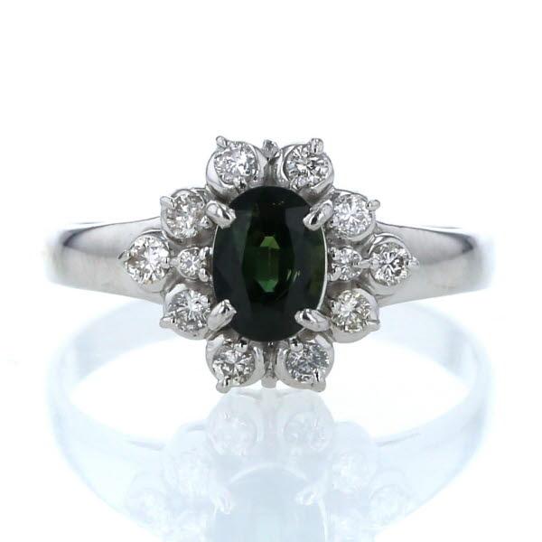 Pt900 プラチナ リング グリーンサファイア 1.00ct ダイヤモンド 0.30ct 取り巻き デザイン 指輪 18号【新品仕上済】【zz】【中古】【送料無料】