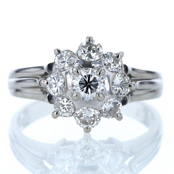 Pt900 プラチナ リング ダイヤモンド 1.00ct 花 フラワー 植物 デザイン 指輪 11号【新品仕上済】【af】【中古】【送料無料】