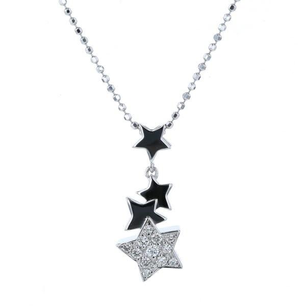 ファッション通販 K18WG 高級 ホワイトゴールド ネックレス ダイヤモンド 0.20ct 星 スター パヴェ 送料無料 41cm スウィング ボールチェーン 新品仕上済 中古 zz