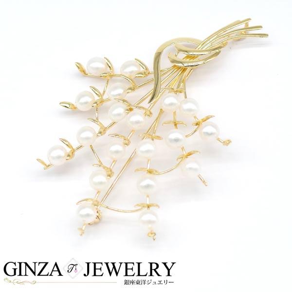 K18 イエローゴールド 真珠 パール ブローチ 花束デザイン フラワー 【新品仕上済】【zz】【中古】