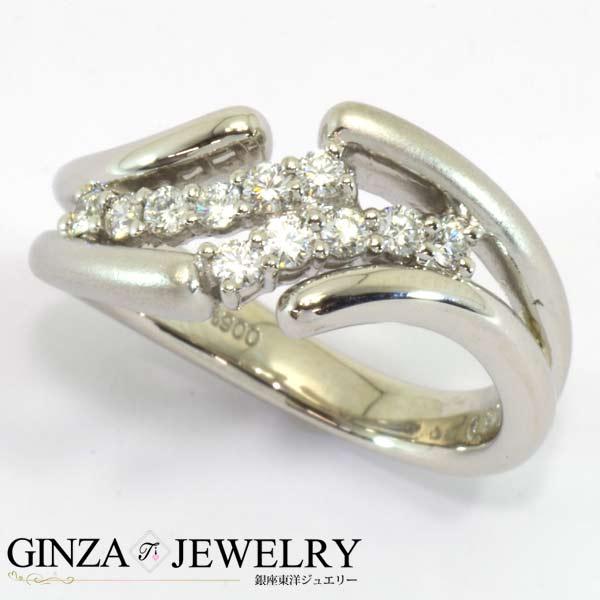 大特価品Pt900 プラチナ ダイヤモンド 0.26ct 一文字 ツイスト デザイン リング 11号 指輪【新品仕上済】【zz】【中古】【送料無料】