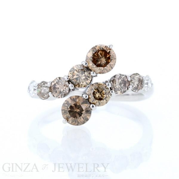 K18WG ホワイトゴールド ダイヤモンド 2.0ct 10石 波 ウェーブ デザイン リング 12号 指輪【新品仕上済】【af】【中古ジュエリー】【人気】【中古】【送料無料】
