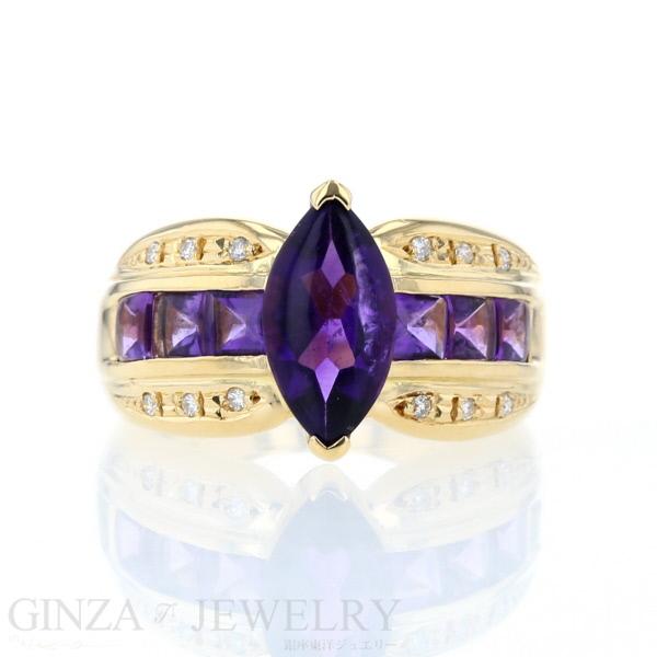 K18YG イエローゴールド リング アメジスト ダイヤモンド 0.07ct 太め デザイン 指輪 .5号【新品仕上済】【zz】【中古】【送料無料】