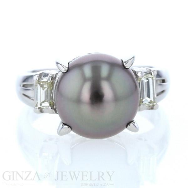 Pt900 プラチナ リング 黒蝶真珠 ダイヤモンド 0.31ct デザイン 号 指輪【新品仕上済】【zz】【中古】【送料無料】