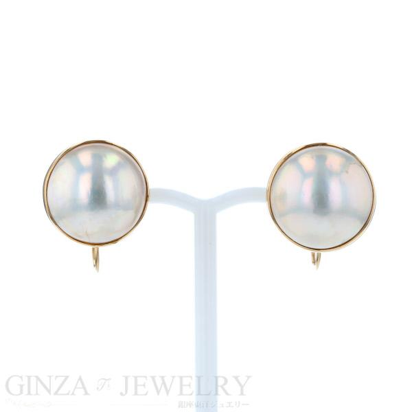 K18 Yellow Gold Half Pearl Earrings One Stone Shin Pull Design
