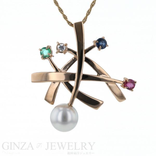 K14PG K18YG ピンクゴールド イエローゴールド ネックレス ダイヤモンド ルビー サファイア エメラルド 真珠 49cm【新品仕上済】【zz】【人気】【中古】【送料無料】