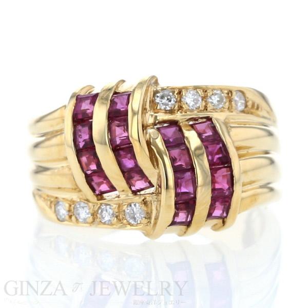 K18 イエローゴールド リング ルビー 1.10ct ダイヤモンド 7.5号 指輪 幅広 ゴージャス 【新品仕上済】【zz】【中古】【送料無料】