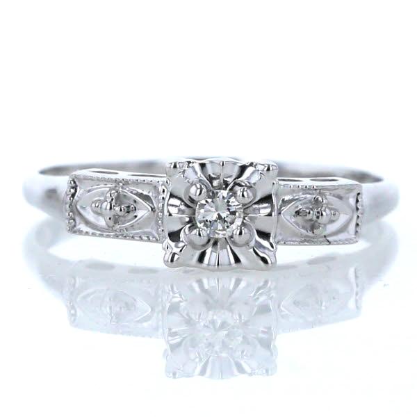 K14WG 585 ホワイトゴールド リング 大特価!! ダイヤモンド 1粒 スクエア 正方形 指輪 新品仕上済 数量限定アウトレット最安価格 jm 中古 デザイン 送料無料 16号