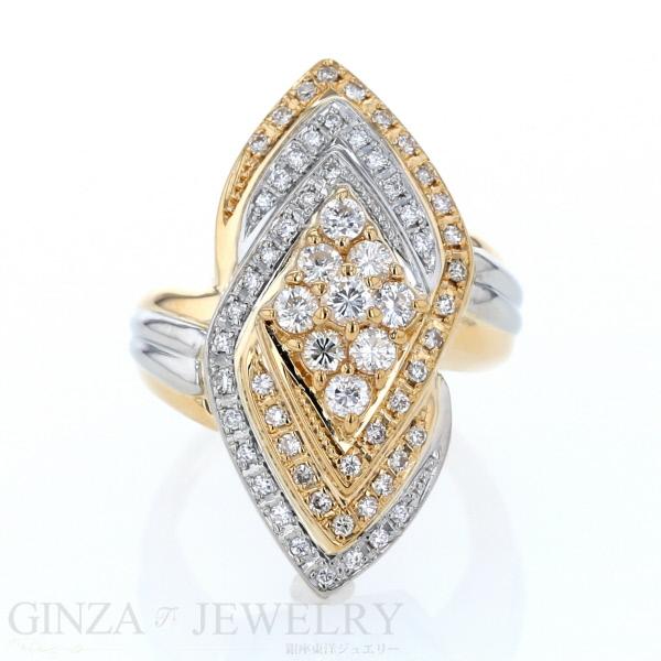 K18 Pt900 イエローゴールド プラチナ リング ダイヤモンド 1.002ct 幅広 デザイン 指輪 11号【新品仕上済】【zz】【中古】【送料無料】