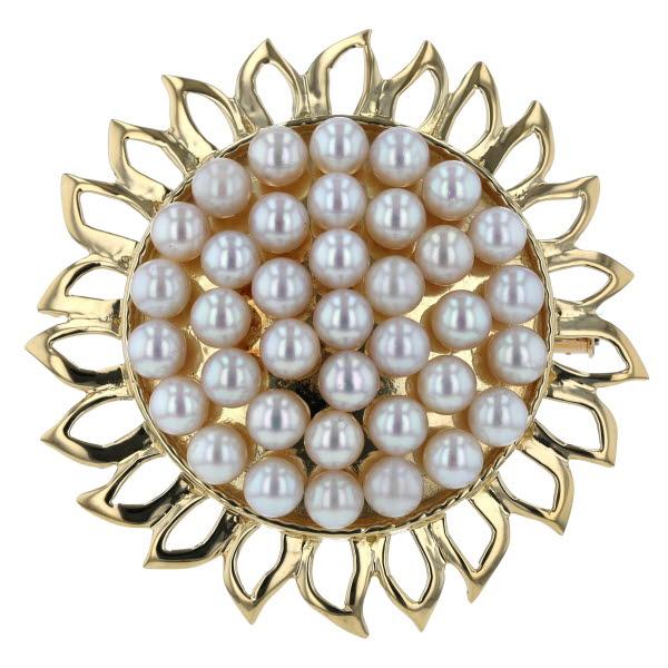 荘 K18YG イエローゴールド ネックレストップ ブローチ 真珠 4.8mm 花 フラワー 向日葵 ひまわり パール 大ぶり【新品仕上済】【pa】【中古】【送料無料】