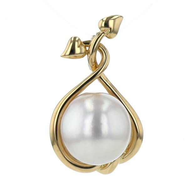 K18YG イエローゴールド ネックレストップ 真珠9.8mm パール 植物 ツタ 果実 フルーツ【新品仕上済】【el】【中古】【送料無料】