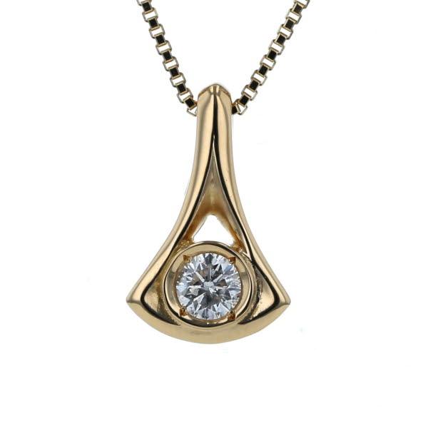 K18YG イエローゴールド ネックレス ダイヤモンド 0.32ct 扇 イチョウ 透かし デザイン 40cm【新品仕上済】【zz】【中古】【送料無料】