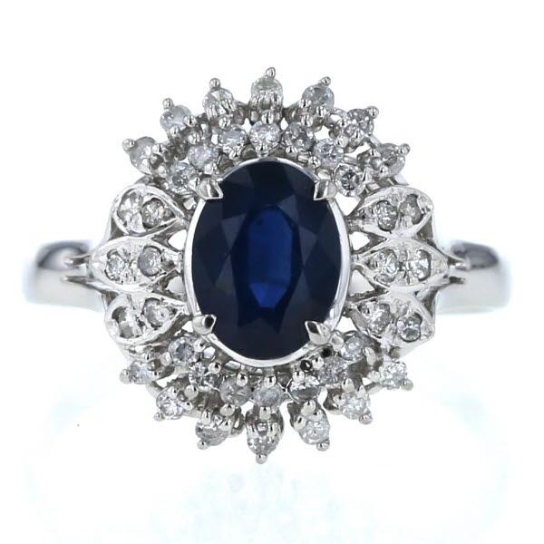 Pt900 プラチナ リング サファイア 1.28ct ダイヤモンド 0.31ct 取り巻き デザイン 指輪 16号【新品仕上済】【pa】【中古】【送料無料】