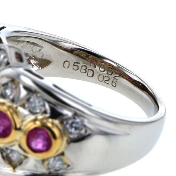 Pt850 K18YG プラチナ イエローゴールド リング ルビー 0 62ct 0 58ct ダイヤモンド 0 26ct 指輪 デザイン 12号新品仕上済af送料無料35ALjqRc4