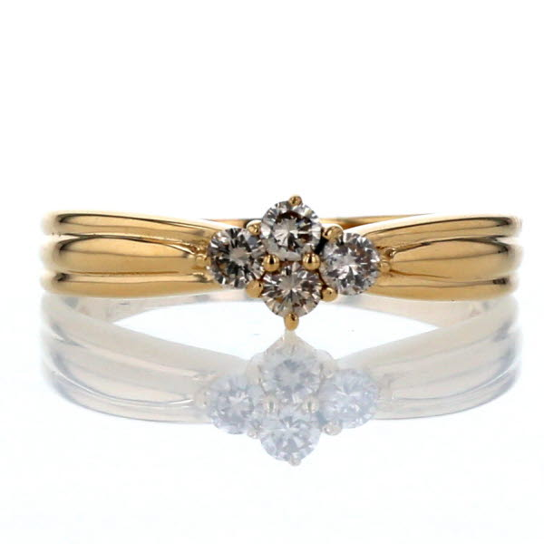 K18YG イエローゴールド リング ダイヤモンド 0.20ct 4P 絞りアーム デザイン 指輪 12号 【新品仕上済】【zz】【中古】【送料無料】
