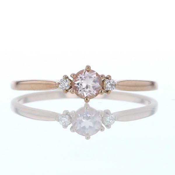 ピンクゴールド 0.02ct K18PG 指輪 華奢 3粒 ダイヤモンド リング ローズクォーツ シンプル 9号【新品仕上済】【pa】【中古】【送料無料】