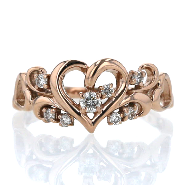 K18PG ピンクゴールド リング ダイヤモンド 0.15ct ハート ツタ 蔦 模様 透かし デザイン 指輪 9号【新品仕上済】【pa】【中古】【送料無料】